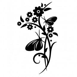 Stickers Fleurs papillons