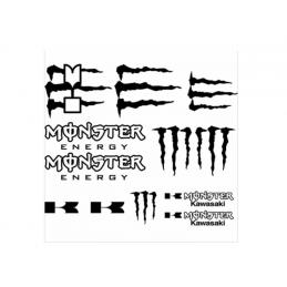 Planche 12 Stickers Monster Energy Kawasaki